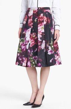 Pink Tartan Floral Print Pleated Midi Skirt Purple Black 4 Pink Tartan