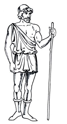 Exomis-Another Greek chiton made from wool, worn by men of working class or slaves. This garment was short and had one shoulder strap.