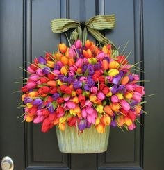 Large Bucket of Tulips Bouquet of Flowers Spring by twoinspireyou, $105.00