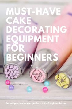 Just starting out and need an idea of the essentials? Here's a list of must-have cake decorating equipment for beginners. #baking #beginnerbaking #giftsforbakers #bakinggifts #easybaking #bakingtools #cake