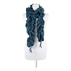 fb342a41df7 Women s Stylish Designer Teal Blue Boutique Long Acrylic Scarf  Amazon.co.uk   Clothing