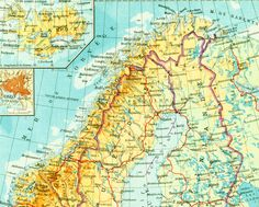 SWEDEN Old Map Of Sweden And Norway By VintageOldMaps - Map 0f sweden