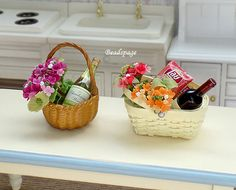 1:12 Scale Dollhouse Miniature Wine Flower Set Sweet Gift Hamper Celebration Party Mother's Day Valentine Christmas Anniversary by BEADSPAGE