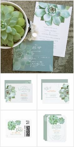 Succulent Garden Wedding Invitation Collection | Rustic nature outdoor garden boho wedding | Sage Green, Grayed Sage Wedding