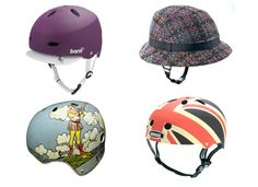 Stylish bike helmets for safe bike rides.    Want the trilby for small boy