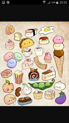 Pin by 雪 冰。风。 on 画 Cute food drawings Cute doodles Kawaii drawings