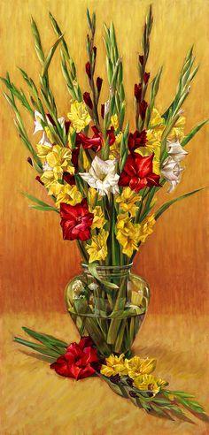 Nancy Tilles  — Golden Gladiolus in Red  (431×900)
