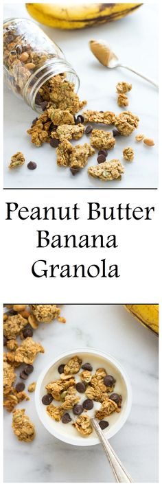 This Peanut Butter, Banana and Chocolate Chip Granola is made in one bowl with healthy, wholesome ingredients. It's vegan, gluten-free, oil-free and refined sugar-free!