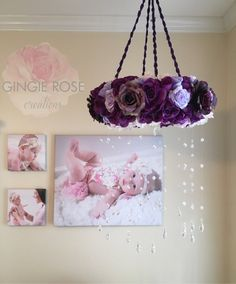 Purple Floral Mobile/Nursery Mobile/Vintage Rose Wreath/Crib