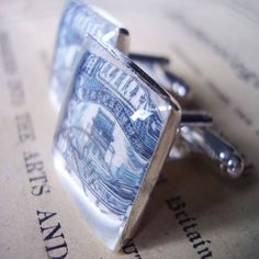 Blue And White Chinese Stamp Cufflinks