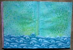 how to get a beautiful watery ocean background in your art journal. step by step photos and description tutorial.