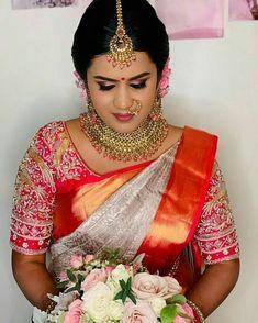 Saree Wedding, Wedding Bride, Saree Look, Preschool Learning, Learning Activities, Bridal Looks, Unique Colors, Bridal Makeup, Beautiful Bride