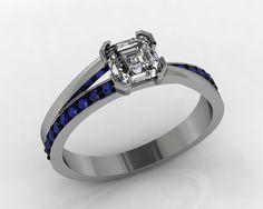 Principle Asscher cut diamond with royal blue sapphire shoulders. Designed in our Nottingham studio. www.temprellbespoke.com