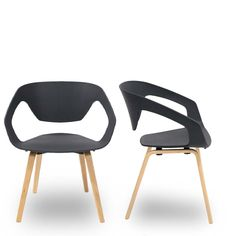 Lot de 2 chaises design scandinave Danwood noires Noir Drawer