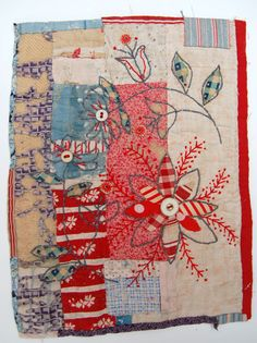 Hand sewn applique and stitch on to pieced or collaged vintage or recycled fabrics. Sometimes incorporating found objects.