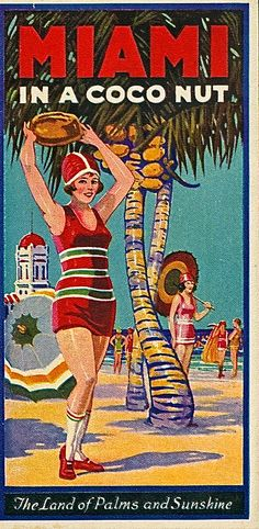 Vintage Travel Poster - Miami - Florida - The Land of Palms and Sunshine.