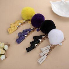 Tassels Keyring Pom Pom Keychain Car Key Chain Bag Ornament Cute Gift DIY Decor  #Unbranded