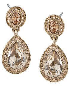 Carolee Earrings, Gold-Tone Pave Glass Teardrop Earrings  | macys.com