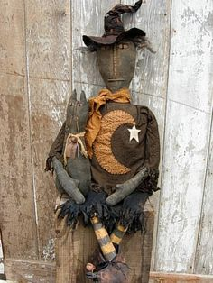 primitive witches | Fall Halloween Primitive Witch Doll & Cat Doll-SPPO Matilda & Spook by ...
