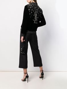 Ysl Heels, Embroidered Bomber Jacket, Embroidered Clothes, Glitz And Glam, Parisian Style, Saint Laurent, Women Wear, Long Sleeve, How To Wear