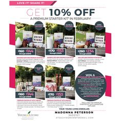 FEBRUARY PROMOTION: Take 10% off all Premium Starter Kits (excludes Premium Starter Kit with Rainstone Diffuser) during Young Living's Love it? Share it! promotion, AND you can also post your Starter Kit selfies to win big!