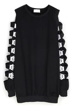 Oversize Caged-Sleeves Sweatshirt - OASAP.com