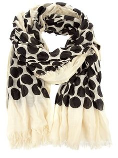 Cream cashmere and silk blend scarf from Marc Jacobs featuring long rectangle shape, black spot pattern, the designer's name and fringed trim.