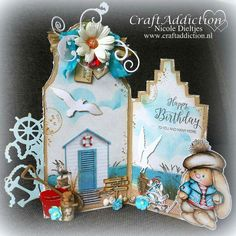 Nautical Cards, Vacation Scrapbook, Shaped Cards, 3d Cards, Marianne Design, Stencil Diy, Masculine Cards, Christmas Printables, Cardmaking