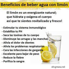 Los beneficios para la salud de tomar agua con limón #comerbien #vidasana #alimentos #salud