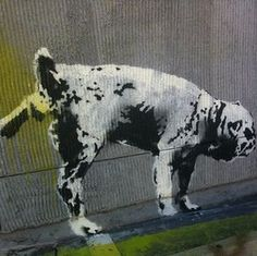 street art by Banksy Street Art Banksy, Banksy Graffiti, Banksy Canvas, Graffiti Artwork, Outdoor Sculpture, Outdoor Art, Reverse Graffiti, Different Forms Of Art, Street Artists