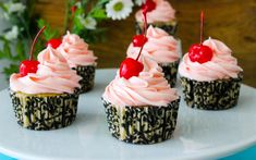 These cupcakes bring together two flavors that are always a winning combo — almond and cherry!