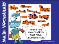 subtraction mental math strategies | Subtraction Vocabulary - take, difference, subtract, how many less,