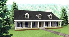 """3029 sq. ft. - Big Country House Plan - 4 BR/3 BA - I love all of the BIG rooms, no formal dining, and a small """"sitting"""" room off the master which would be a perfect office. 4 Bedroom House Plans, Ranch House Plans, House Floor Plans, Rectangle House Plans, House Plans And More, Simple House Plans, House Plans One Story, Story House, Big Country"""