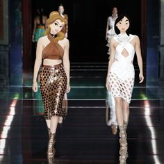 Pin for Later: What If the Disney Princesses Took the Place of Gigi Hadid and Kendall Jenner on the Catwalk? Belle and Mulan Walking the Balmain Spring '16 Catwalk