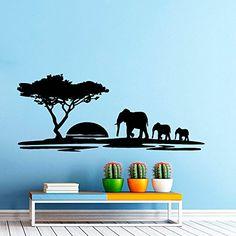 Wall Decals Landscape Sunset Elephant Decal Nursery Art Bedroom Vinyl Sticker Wall Decor Murals Bedroom: Amazon.co.uk: Kitchen & Home