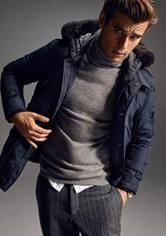【2015冬】グレータートルネック×紺ダウンジャケットの着こなし(メンズ)   Italy Web