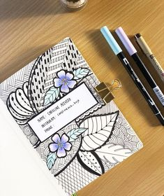 Bullet journal drawing idea, bullet journal cover page. | @caroline_acebujo