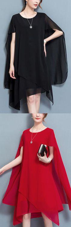 Women's Plus Size Street chic Chiffon Dress