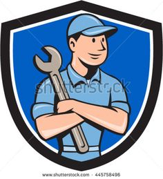 Illustration of a mechanic worker wearing hat arms crossed holding spanner looking to the side viewed from front set inside shield crest on isolated background done in cartoon style.