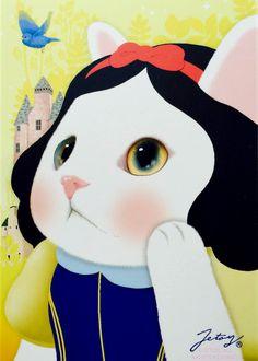 Jetoy Choo Choo Cat Snow White Post Card