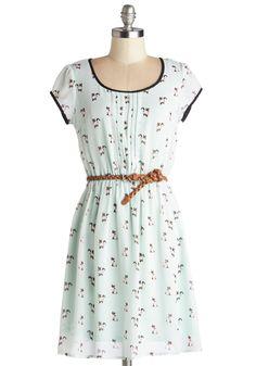 Pintucks, elastic waist, contrast bands Meow's the Moment Dress | Mod Retro Vintage Dresses | ModCloth.com