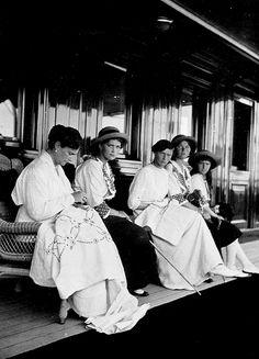""" Empress Alexandra Feodorovna and her daughters the Grand Duchesses Maria, Tatiana, Olga, Anastasia aboard the imperial yacht ""Standart"" (1914). """