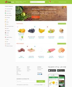 """Wonderfully product-centered. The generous white space gives it """"Freshness"""" and the cheerful, bright icons and header give it """"Happiness"""" resulting in a perfect brand cohesion with the name - """"HappyFresh""""."""