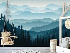 3D Wallpaper For Living Room Peel N Stick Wallpaper, Self Adhesive Wallpaper, Fabric Wallpaper, Of Wallpaper, Wallpaper Awesome, Mountain Mural, Blue Mountain, Forest Mountain, Mountain Nursery