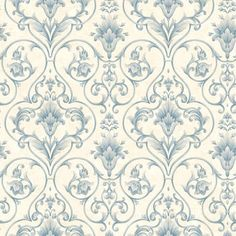 Wallpaper Sample Blue and Cream Victorian Scroll | eBay
