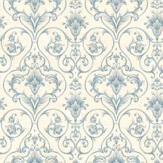 Wallpaper Sample Blue and Cream Victorian Scroll | eBay