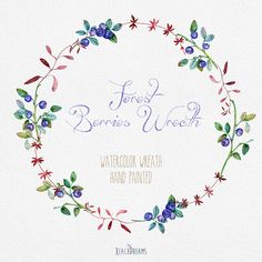 Blueberries Wreath Watercolor. PNG files. Hand от ReachDreams