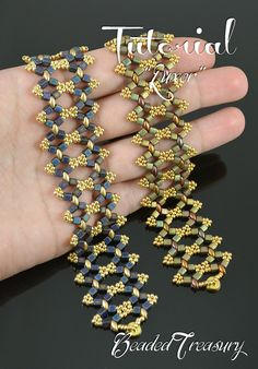 "$$$ 6.50 ""Luxor"" beading tutorial is for a simple but sublime beaded bracelet made with predominat metalic and gold colors. Superduo bead pattern by BeadedTreasury."