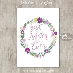 Printable Mother's Day Card Floral Wreath 5 x 7 by PDRPrintables
