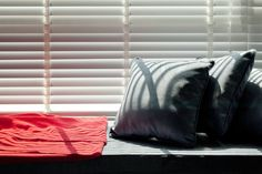 Interior Design, Gray Cushion Window Table And Red Fabric ~ Modern Apartment Interior Design Combining Bright and Dark Interior